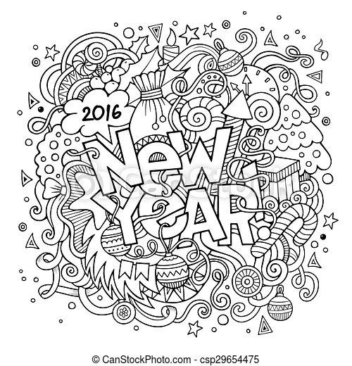 lettering, communie, nieuw, hand, achtergrond, jaar, doodles - csp29654475