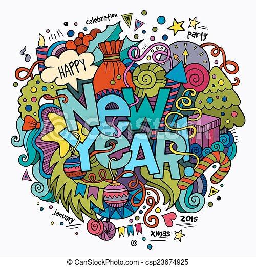 lettering, elementos, novo, mão, fundo, ano, doodles - csp23674925