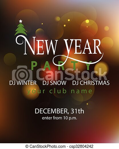 lettering for new year party invitation card template csp32804242