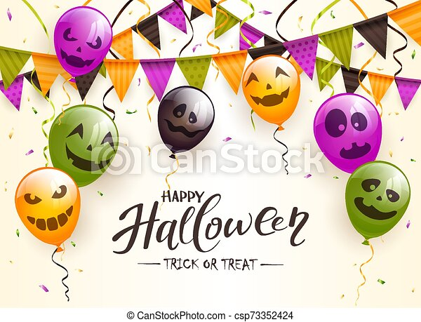 Lettering Happy Halloween with Balloons and Pennants - csp73352424