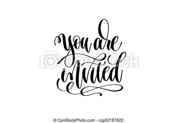 lettering, inscrição, convidado, mão, convite, tu, evento - csp52187622