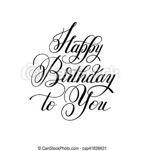 black and white hand lettering inscription typography template happy