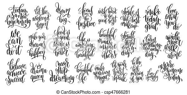 lettering, jogo, 25, motivational, mão, citação, escrito - csp47666281