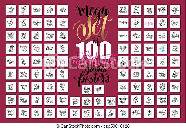 lettering, jogo, mega, valentines, mão, citação, casório, 100 - csp50018128