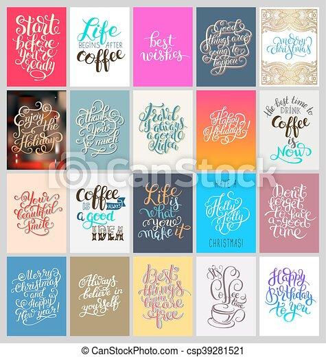 lettering, jogo, motivational, mão, cartazes, caligrafia - csp39281521