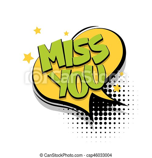 Lettering Miss You Comic Text Speech Bubble Lettering Miss You