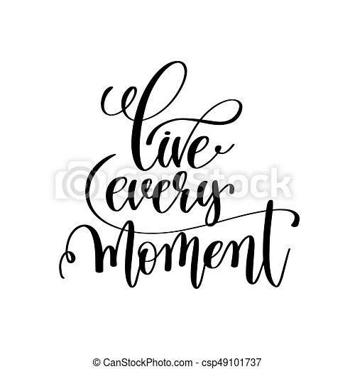 lettering, positivo, viver, momento, cada, pretas, branca, manuscrito - csp49101737