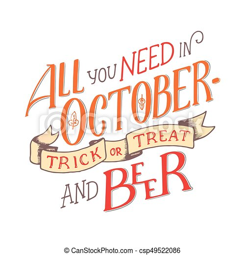 Lettering Quote About October. Lettering Composition. Banner For Autumn  Season. Hand Drawn Autumn