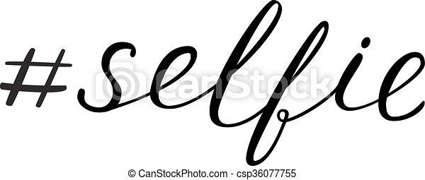 lettering, selfie, hashtag - csp36077755