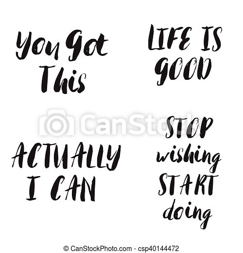 lettering, set., motivational, quotes., frases - csp40144472