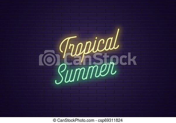 lettering, tekst, neon, tropische , gloeiend, summer. - csp69311824