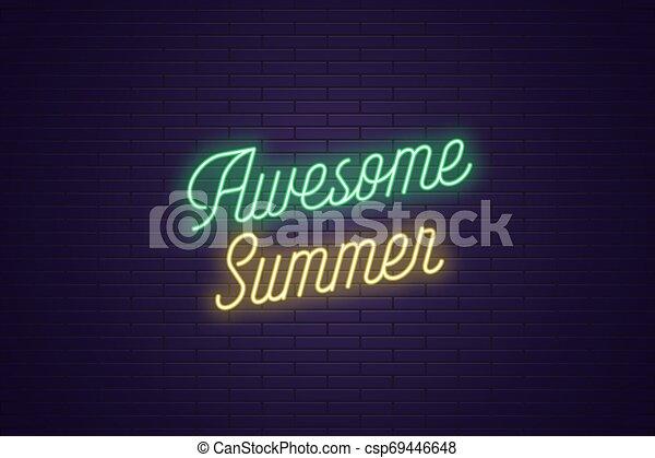 lettering, tekst, ontzagwekkend, neon, gloeiend, summer. - csp69446648