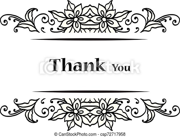 Lettering text thank you, with graphic of wreath frame. Vector - csp72717958