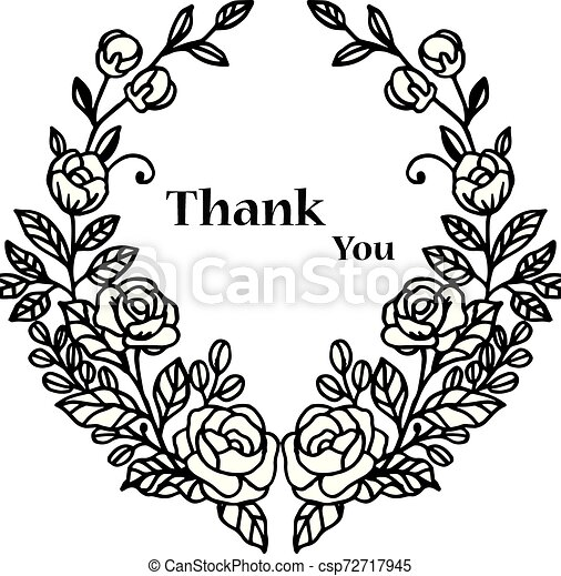 Lettering text thank you, with graphic of wreath frame. Vector - csp72717945