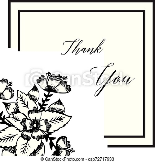 Lettering text thank you, with graphic of wreath frame. Vector - csp72717933
