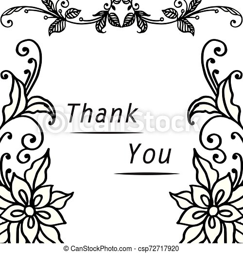 Lettering text thank you, with graphic of wreath frame. Vector - csp72717920