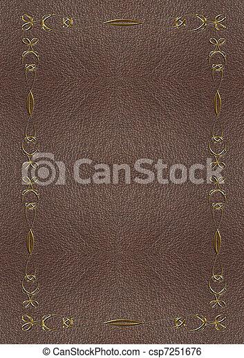 lettering, textuur, goud, huid - csp7251676