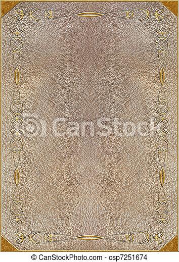 lettering, textuur, goud, huid - csp7251674