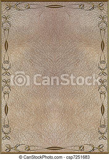 lettering, textuur, goud, huid - csp7251683
