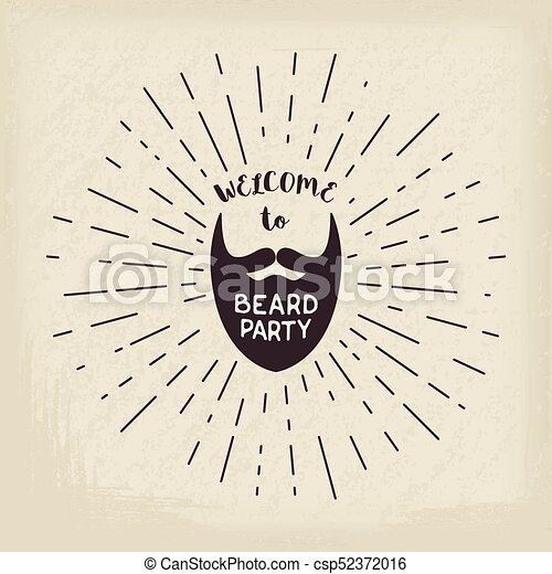 lettering, vetorial, hipster, barba - csp52372016