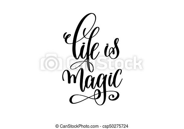 lettering, vida, magia, inscrição, -, mão, pretas, branca - csp50275724