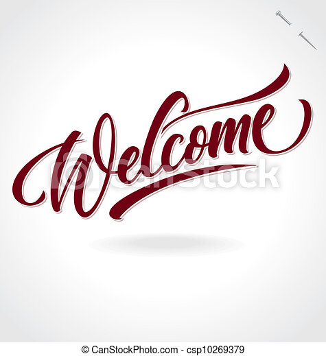 lettering, 'welcome', (vector), hand - csp10269379