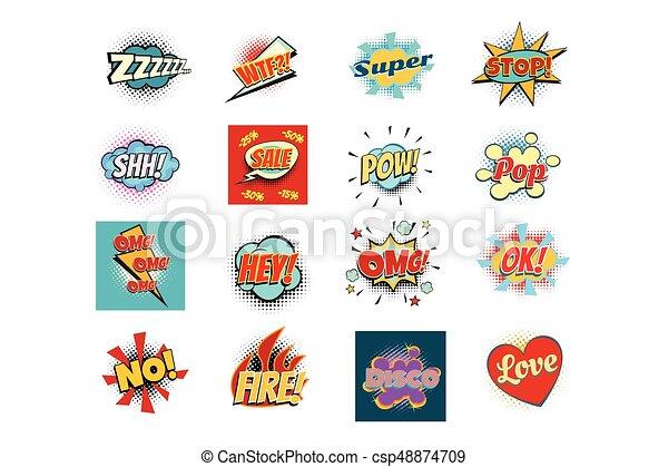 lettering, woord, uitdrukkingen, seth, teksten, reproductie, komisch - csp48874709