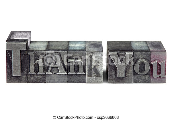 Letterpress Thank You - csp3666808