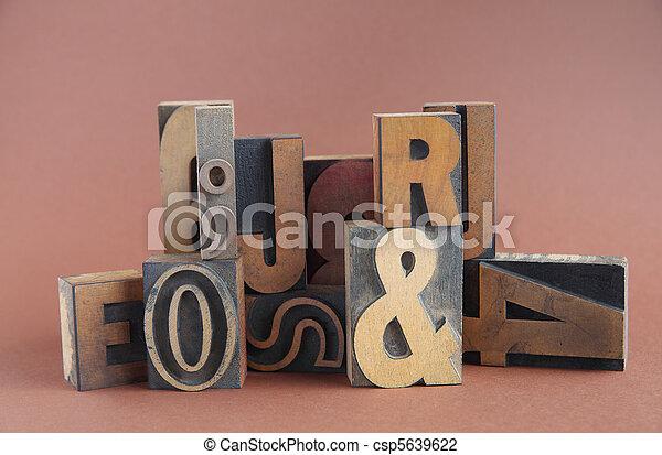 letterpress wood type group - csp5639622