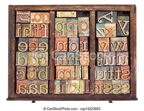 letterpress wood type - csp14223663