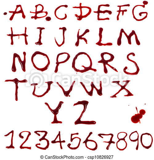 Letters A-Z and 1-10 dripping with blood on white background - csp10826927