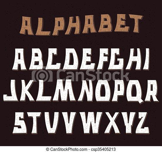 letters., abc, 装飾用である, textured, alphabet. - csp35405213