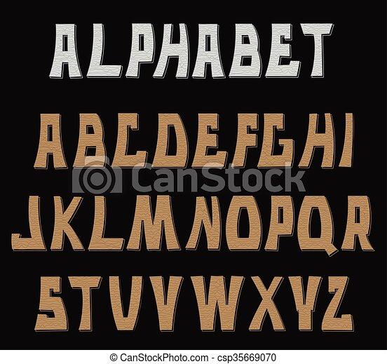 letters., abc, 装飾用である, textured, alphabet. - csp35669070