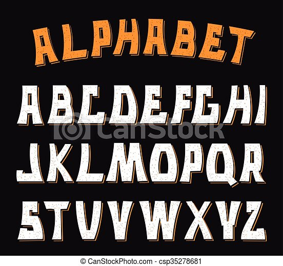 letters., abc, 装飾用である, textured, alphabet. - csp35278681