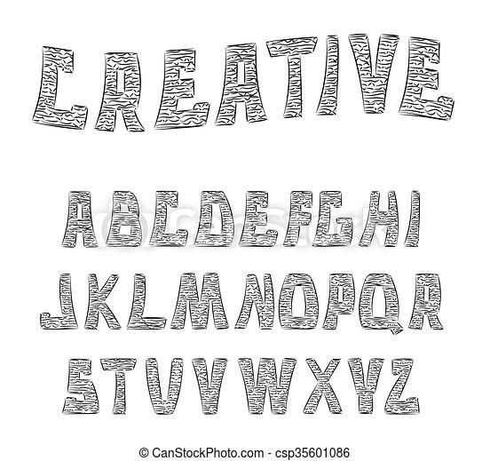 letters., abc, 装飾用である, textured, alphabet. - csp35601086