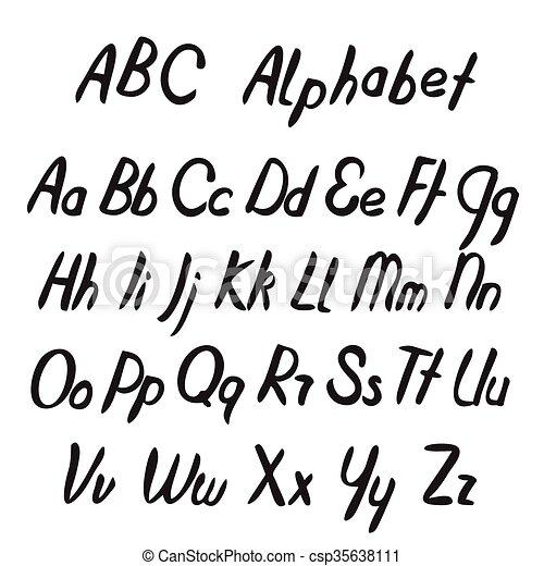 letters., abc, alphabet., 手, 引かれる - csp35638111