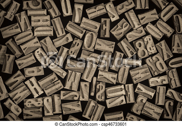 letters and numbers in letterpress wood type - csp46733601