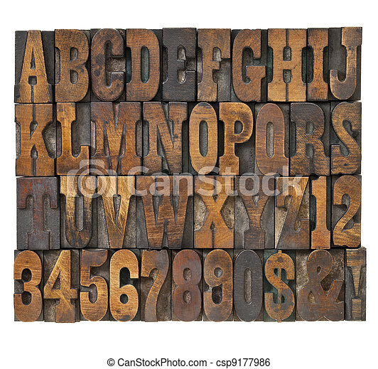 letters and numbers in vintage type - csp9177986
