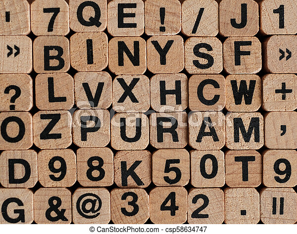 letters and numbers on wooden blocks / cubes - letterpress , - csp58634747