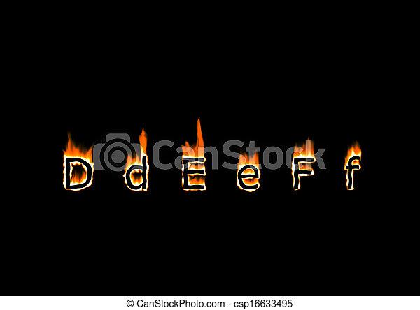 Letters d e f of alphabet in fire letters d e f csp16633495 altavistaventures Images