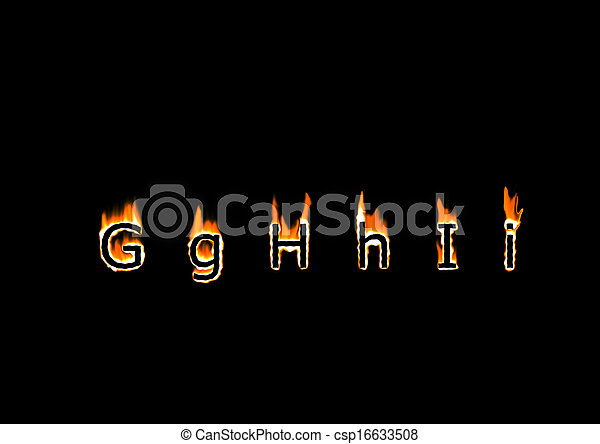 Letters g h i of alphabet in fire letters g h i csp16633508 thecheapjerseys Images
