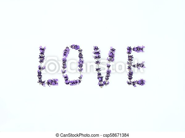 Letters of love from fresh lavender flower - csp58671384
