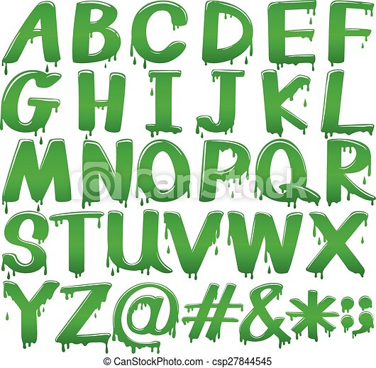 Letters of the alphabet in a melting green template - csp27844545