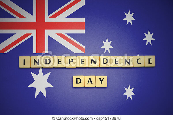 letters with text independence day on the national flag of australia. - csp45173678