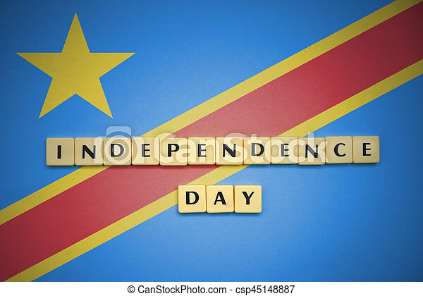 Letters With Text Independence Day On The National Flag Of - Congo independence day