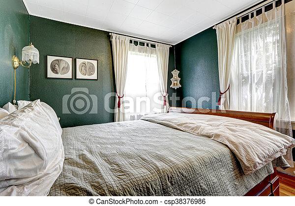 letto legno, scuro, pareti, verde, camera letto, piccolo