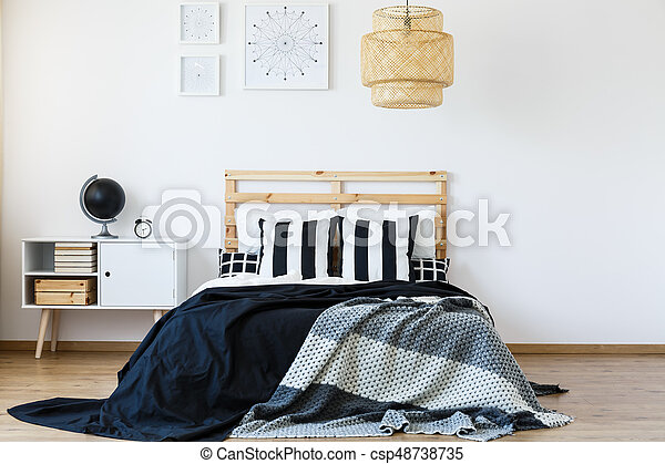 Letto legno, testata letto. Legno, lettiera, letto, comodo, nero ...
