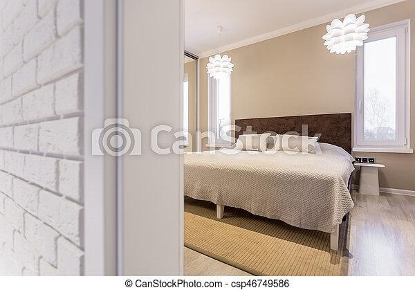 Letto legno, testata letto. Legno, grande, moderno, letto,... foto ...
