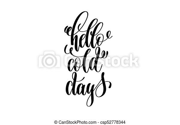 Lettrage Hiver Inscription Jours Main Froid Vacances Bonjour