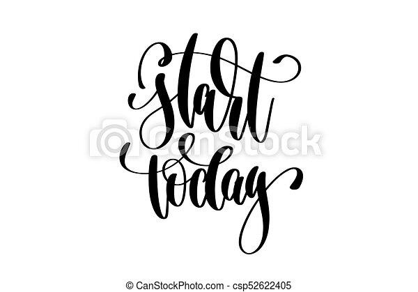 lettrage, inscription, -, main, début, aujourd'hui - csp52622405